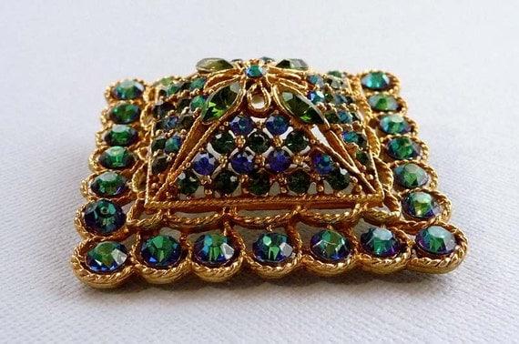 Vintage Coro Signed Square Blue & Green Rhinestone Brooch Pin