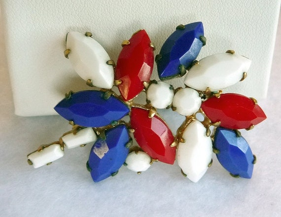 Vintage Fourth of July Patriotic Red White Blue Brooch