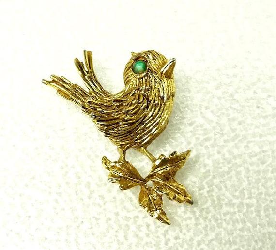 Vintage Signed ART Brooch - Tweety Bird on a limb