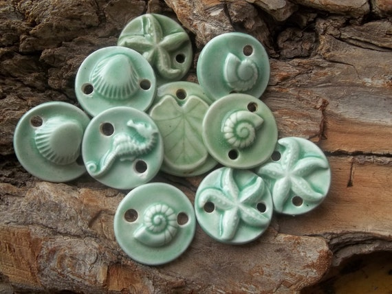 SALE Seashell ,starfish ,seahorse and sand dollar pendants links and pendants