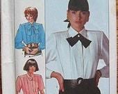 Vintage 80's Misses' Pleated Blouse, Simplicity 8237 Sewing Pattern UNCUT Size 12