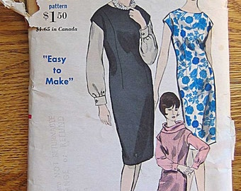 RARE Vintage 60's Misses' Easy Dress, Jumper, and Halo Scarf Vogue 5995 Sewing Pattern Size 12