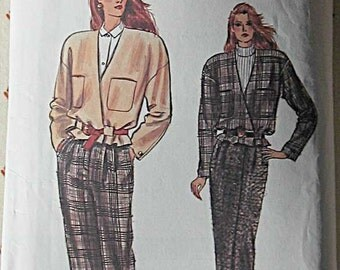 Vintage 80's Misses' Miss Petite Jacket, Skirt and Pants, Suit, Vogue 9979 Sewing Pattern Sizes 12, 14, 16