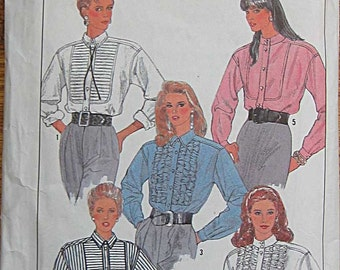 Misses' Ruffle or Pleated Shirt, Blouse Simplicity 8804 Sewing Pattern UNCUT Sizes 6-12