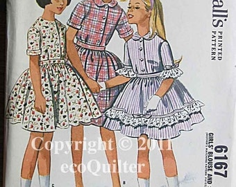 RARE Vintage 60's Girl's Blouse and Skirt, McCall's 6167 Sewing Pattern UNCUT Size 8