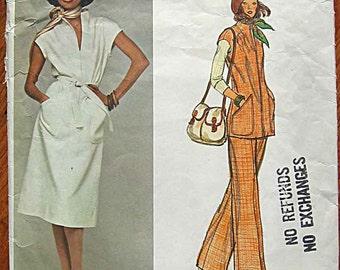 Vintage 70's Jerry Silverman Misses' Dress, Tunic Top, Pants, Vogue 1241 Sewing Pattern Size 8
