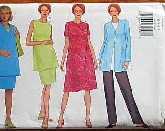 Misses' Maternity Wardrobe Easy Dress, Jacket, Tunic Top, Skirt, Pants, Separates, Butterick 6951 Sewing Pattern UNCUT Sizes 6, 8, 10