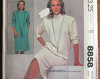 Vintage 80's Misses' Straight Pullover Dress for Stretch Knits Only, McCall's 8858 Sewing Pattern UNCUT, Size 14