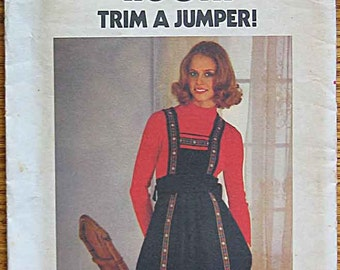 RARE Vintage 70's Boho Young Junior Teen Tie-on Jumper Butterick 4908 Sewing Pattern UNCUT Size 13/14