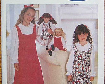 """Now We Are Twins, Matching Children's Girls' Jumper and Blouse and Doll Outfit 18"""", Butterick 5855 Sewing Pattern UNCUT Sizes 4-5-6"""