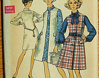 Vintage 70's Misses' Dress and Sleeveless Coat Simplicity 8705 Sewing Pattern Size 12