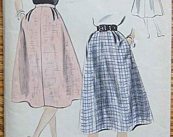 "RARE Vintage 1952 Misses' Skirt Vogue 3476 Sewing Pattern UNCUT Waist 26 1/2"""