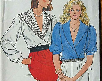 RARE Vintage 80's Misses' Front Wrap Blouses Butterick 4706 Sewing Pattern UNCUT Sizes 8, 10, 12