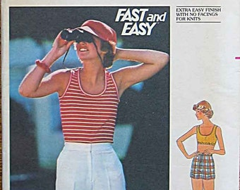 RARE Vintage 70's Misses' Summer Tank Top and Shorts in 2 Lengths, Sportswear, Butterick 4817 Sewing Pattern UNCUT Size 14