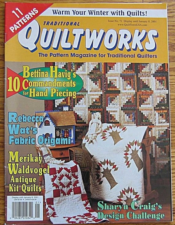 Traditional Quiltworks Magazine Issue No. 71 2001, Fabric Origami with Rebecca Wats, Redwork, Nine Patch, Log Cabin