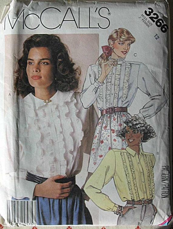 RARE Vintage 80's Misses' Ruffle Blouse, McCall's 3266 Sewing Pattern UNCUT Size 12
