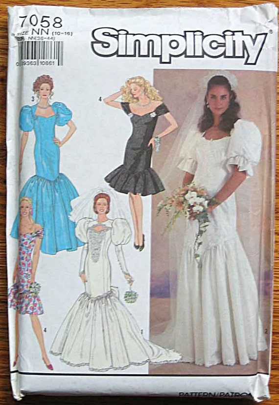 RARE Misses' Wedding Gown, Bridesmaid Dress, Party Dress, Simplicity 7058 Sewing Pattern UNCUT Sizes 10-16