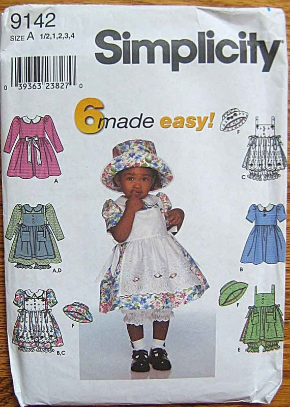 Children's Toddler's Girls' Dress, Pinafore, Panties and Hat, Simplicity 9142 Pattern UNCUT Sizes 1/2, 1, 2, 3, 4