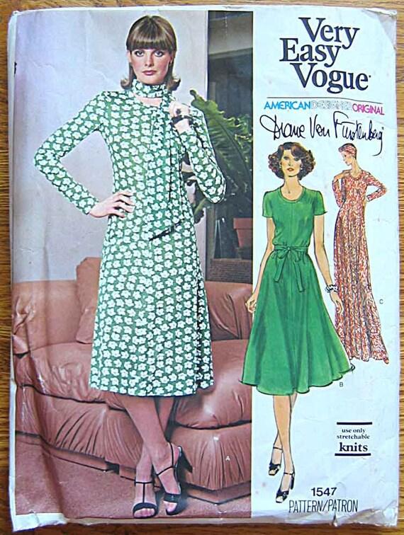 Vintage Vogue 1547 Pattern Misses' Diane Von Furstenberg Dress in 2 Lengths for Knit Fabrics, Size 14