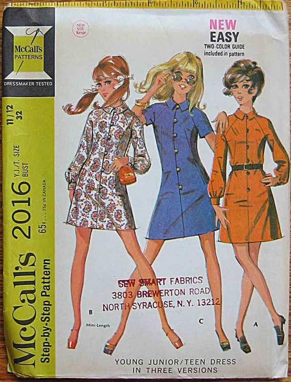 Vintage 60's Young Junior /Teen Mod Dress in 3 Versions, Mini, McCall's 2016 Sewing Pattern UNCUT Size 11/12