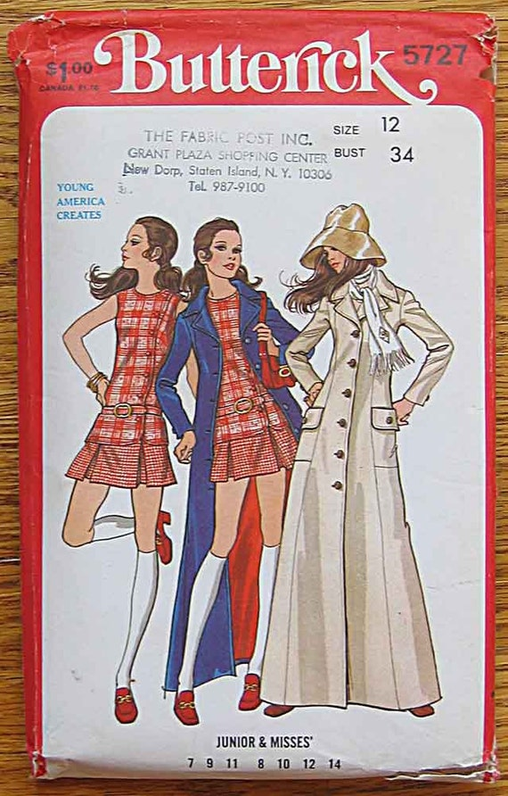 RARE Vintage 70's Junior and Misses' Jeanne Augey Mod Maxi Coat, Top, Mini Skirt, Butterick 5727 Sewing Pattern UNCUT, Size 12