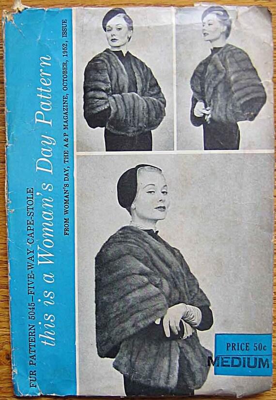 Vintage 1950's Woman's Day Fur Pattern 5045, Five Way Cape, Stole, Size Medium 14-16