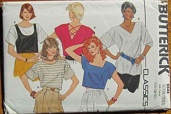 Vintage 80's Misses' Tops, Crisscross Back Detail, Crop Top, Butterick 6544 Pattern UNCUT Sizes 14, 16, 18
