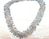 Antique 1920s Dress Silver and Blue Glass Beads THATS ALL FOLKS