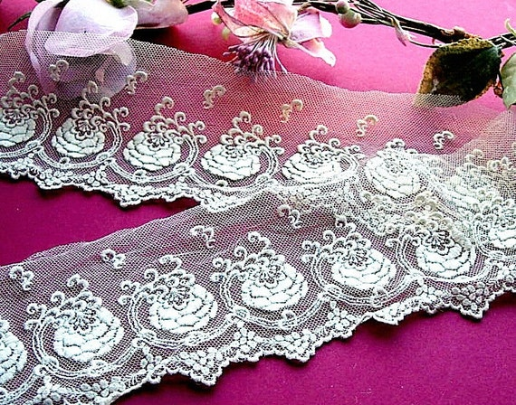 Antique Victorian French Roses Tulle Lace Remnants