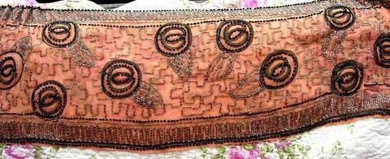 Antique Edwardian Dress Beaded Silk Peach Sash Remnant