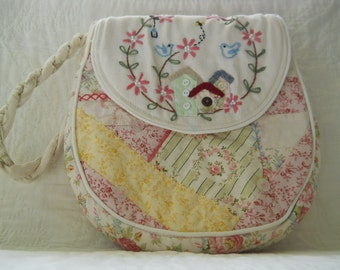 Little bag with bluebirds and pink flowers