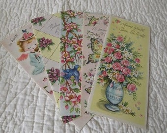 Charming Vintage Greeting Cards with Envelopes - Set of Five
