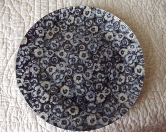 Glass Serving Decorative Plate Covered With Pansy Fabric