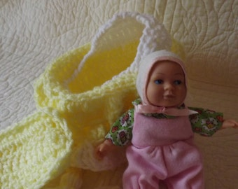 Crocheted Cradle Church Purse with Vintage Baby Doll