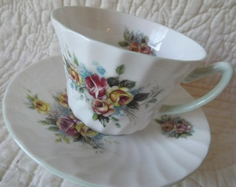 Vintage Royal Sutherland Bone China Cup and Saucer - Staffordshire England