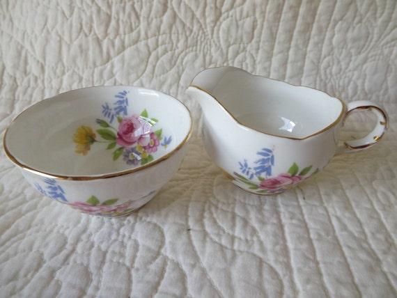 Vintage Melba Bone China Made In England Floral Creamer and Sugar Bowl