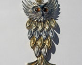 Articulated Vintage Gold and Sliver Tone Large Owl Necklace