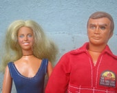 1970s Six Million Dollar Man and Bionic Woman Dolls