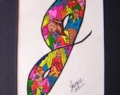 Multi Colored Personalized Initial Letter J Art Original Design Funky Figures