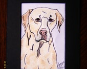 Yellow Lab Dog Portrait Original Animal Art