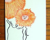 Orange Greeting Card Me and Mom Orange Flower Greeting Card Original Happy Loving Bright Cheerful and Symbolic