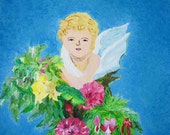 Whimsical Angel with Flowers Peaceful and Angelic Garden Original Art