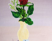 Red Rose Flower in a Bud Vase with I Love You Note Original Acrylic FREE SHIPPING