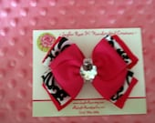 Hot Pink, Black and White Damask Stacked Bow