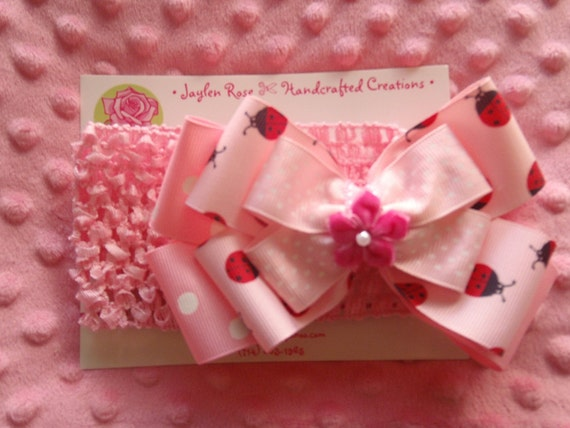 Lovely Lady Bug Bow... pink and white polka dots