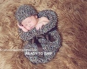 Cocoon Hat Newborn Photo Prop in BROWNS BLUES, Photography Baby Hat and Cocoon, Newborn wrap cocoon and Hat, Baby Shower Gift New Baby Photo