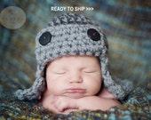 Flyer Hat Newborn Baby Photo prop in Grey, Photography Pilot Hat, gift hat Photo shoot Babies, Gift Newborns HAT New Baby, Pilot Bomber Hat
