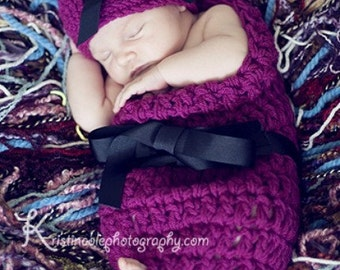 Cocoon and Hat Baby Newborn Photo Prop in WILDBERRY Set 2Pc Photography all babies Infant Girl Photo Shoot The Perfect GIFT Newborns Baby