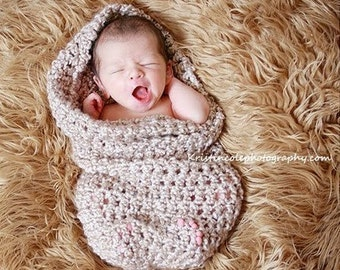 Teddy Bear Beanie HAT and Cocoon Newborn Baby Photo Prop in Browns  Photography Session Infant Girl Boy All Babies Photo Shoot + colors