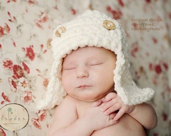 PILOT Aviator HAT Newborn Baby Photo prop, Photography Bomber Hat, New Babies Hat photography, GIFT New Baby photo shoot Hat, BabyShower Hat
